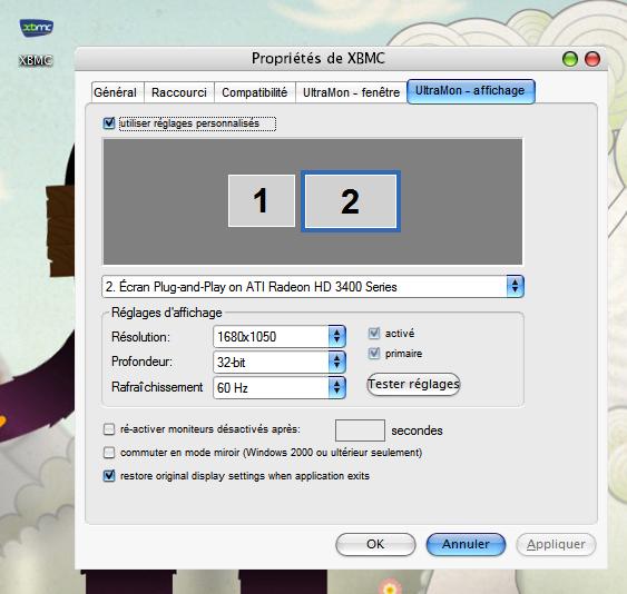 Résolu]XBMC sur écran secondaire + résolution 1680x1050 - Page 2